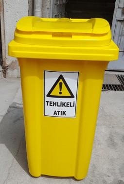 Tehlikeli Atık Konteyneri 120 lt / Sarı