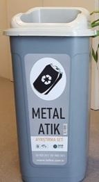 Sıfır Atık Kutusu Metal  Atık 60 Lt